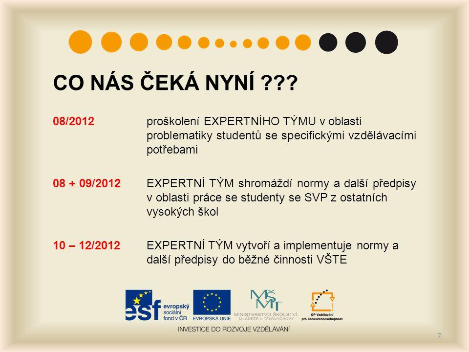 CO NÁS ČEKÁ NYNÍ ??? 08/2012proškolení EXPERTNÍHO TÝMU v oblasti problematiky studentů se specifickými vzdělávacími potřebami 08 + 09/2012EXPERTNÍ TÝM