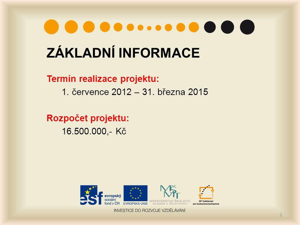 ZÁKLADNÍ INFORMACE Termín realizace projektu: 1. července 2012 – 31.