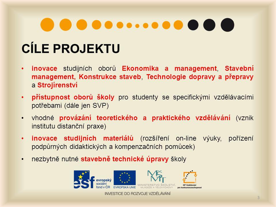 CÍLE PROJEKTU inovace studijních oborů Ekonomika a management, Stavební management, Konstrukce staveb, Technologie dopravy a přepravy a Strojírenství přístupnost oborů školy pro studenty se specifickými vzdělávacími potřebami (dále jen SVP) vhodné provázání teoretického a praktického vzdělávání (vznik institutu distanční praxe) inovace studijních materiálů (rozšíření on-line výuky, pořízení podpůrných didaktických a kompenzačních pomůcek) nezbytně nutné stavebně technické úpravy školy 3