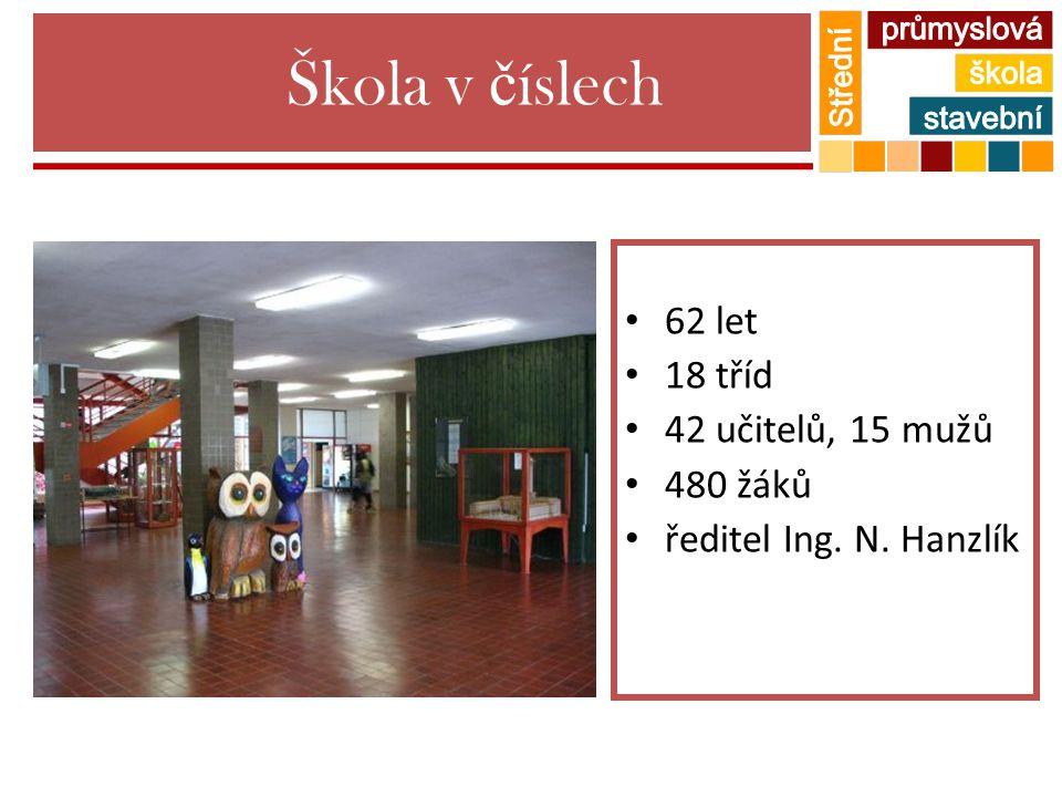 Škola v č íslech 62 let 18 tříd 42 učitelů, 15 mužů 480 žáků ředitel Ing. N. Hanzlík
