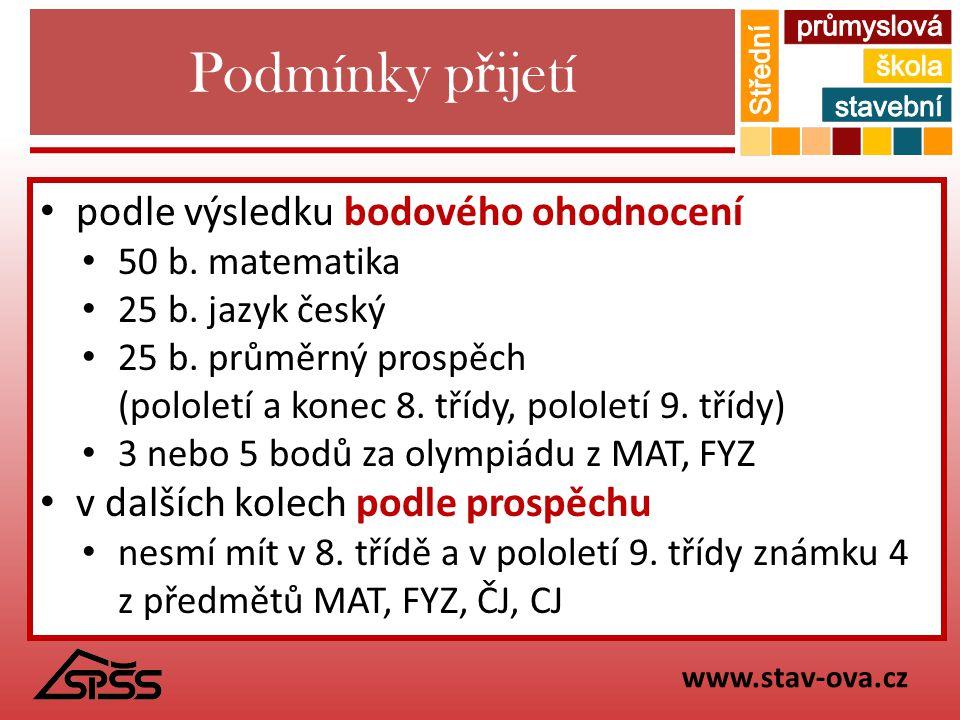 Podmínky p ř ijetí podle výsledku bodového ohodnocení 50 b. matematika 25 b. jazyk český 25 b. průměrný prospěch (pololetí a konec 8. třídy, pololetí