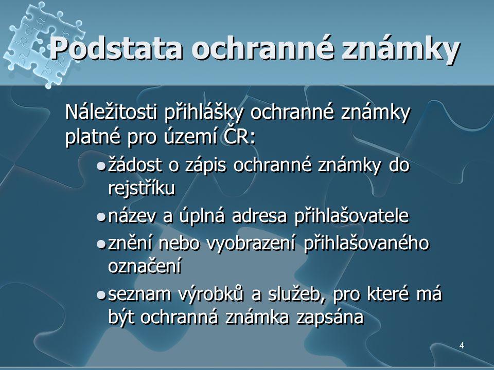 Podstata ochranné známky Náležitosti přihlášky ochranné známky platné pro území ČR: žádost o zápis ochranné známky do rejstříku název a úplná adresa p