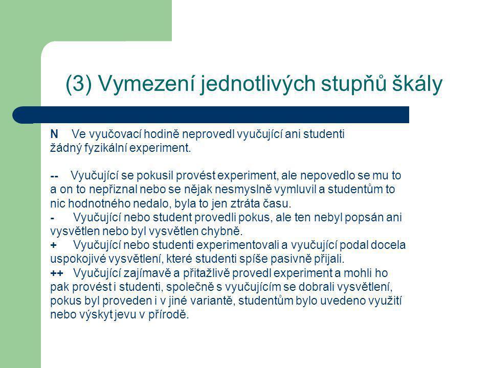 (3) Vymezení jednotlivých stupňů škály N Ve vyučovací hodině neprovedl vyučující ani studenti žádný fyzikální experiment.