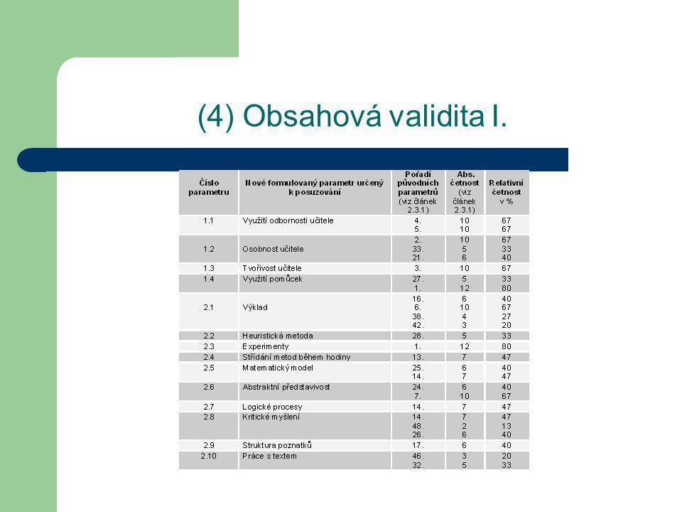(4) Obsahová validita I.