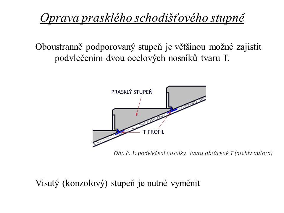 Oboustranně podporovaný stupeň je většinou možné zajistit podvlečením dvou ocelových nosníků tvaru T. Visutý (konzolový) stupeň je nutné vyměnit Oprav