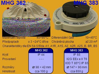 Maximální teplota45÷90°CDiferenciální část10÷45°C Předpoplach o 3 ÷24°C dříveChráněná plochaaž 20 m 2 Charakteristiky dle EN 54-5 třída A1, A1R, A1S,