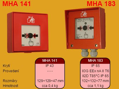 MHA 141MHA 183 KrytíIP 43IP 65 Provedení - - -II3G EEx nA II T6 II2D T85°C IP 65 Rozměry 129×129×47 mm 132×132×77 mm Hmotnostcca 0,4 kgcca 1,1 kg