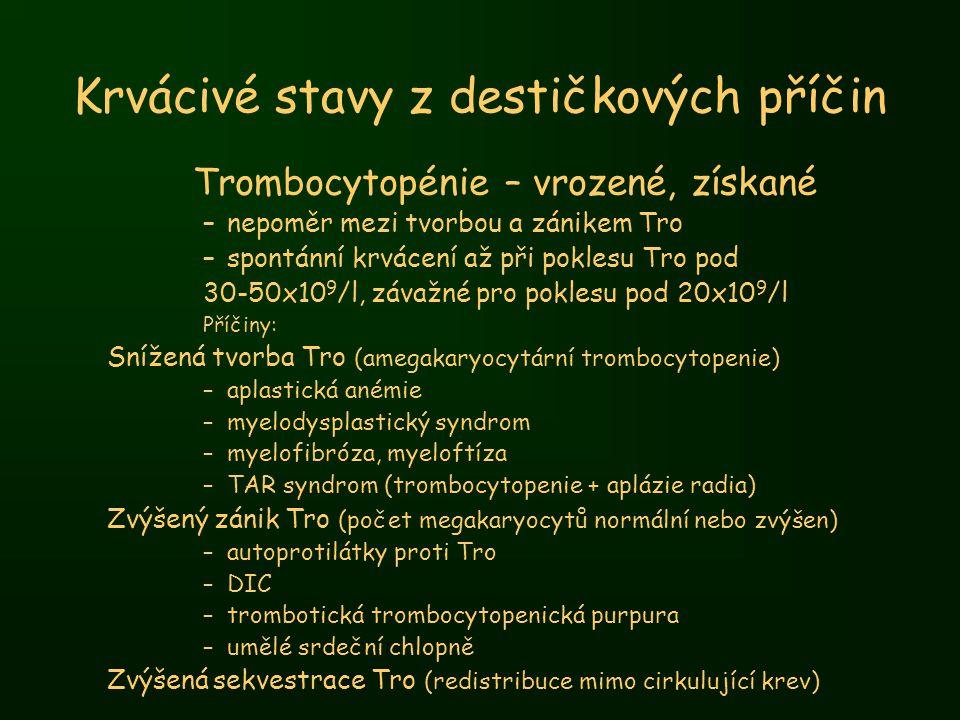 Krvácivé stavy z destičkových příčin Trombocytopénie – vrozené, získané –nepoměr mezi tvorbou a zánikem Tro –spontánní krvácení až při poklesu Tro pod