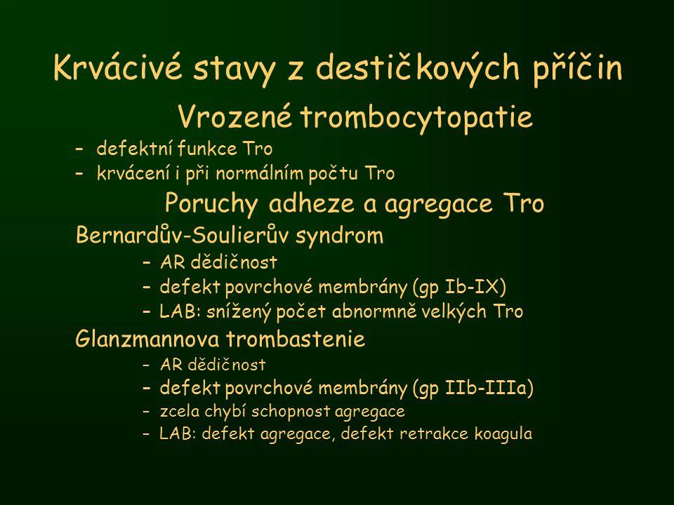 Krvácivé stavy z destičkových příčin Vrozené trombocytopatie –defektní funkce Tro –krvácení i při normálním počtu Tro Poruchy adheze a agregace Tro Be