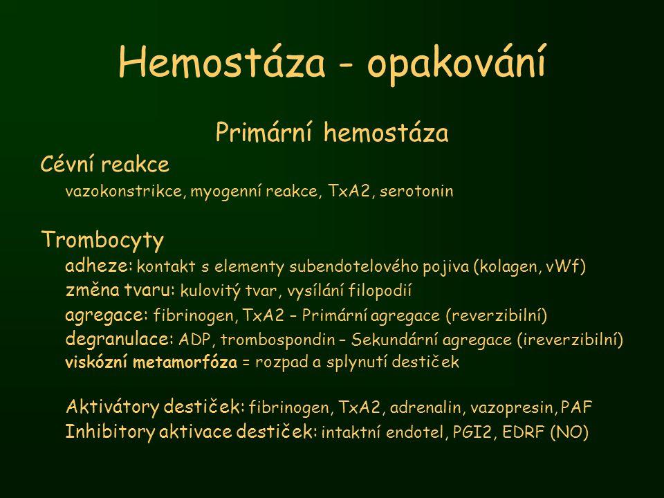 Hemostáza - opakování Primární hemostáza Cévní reakce vazokonstrikce, myogenní reakce, TxA2, serotonin Trombocyty adheze: kontakt s elementy subendote