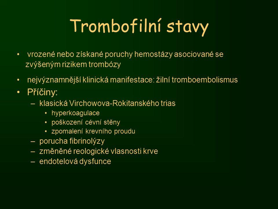 Trombofilní stavy vrozené nebo získané poruchy hemostázy asociované se zvýšeným rizikem trombózy nejvýznamnější klinická manifestace: žilní tromboembo