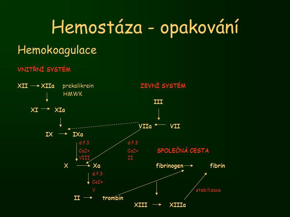 Hemokoagulace VNITŘNÍ SYSTÉM XII XIIa prekalikrein ZEVNÍ SYSTÉM HMWK III XI XIa VIIa VII IX IXa d.f.3 d.f.3 Ca2+ Ca2+ SPOLEČNÁ CESTA VIII II X Xa fibr