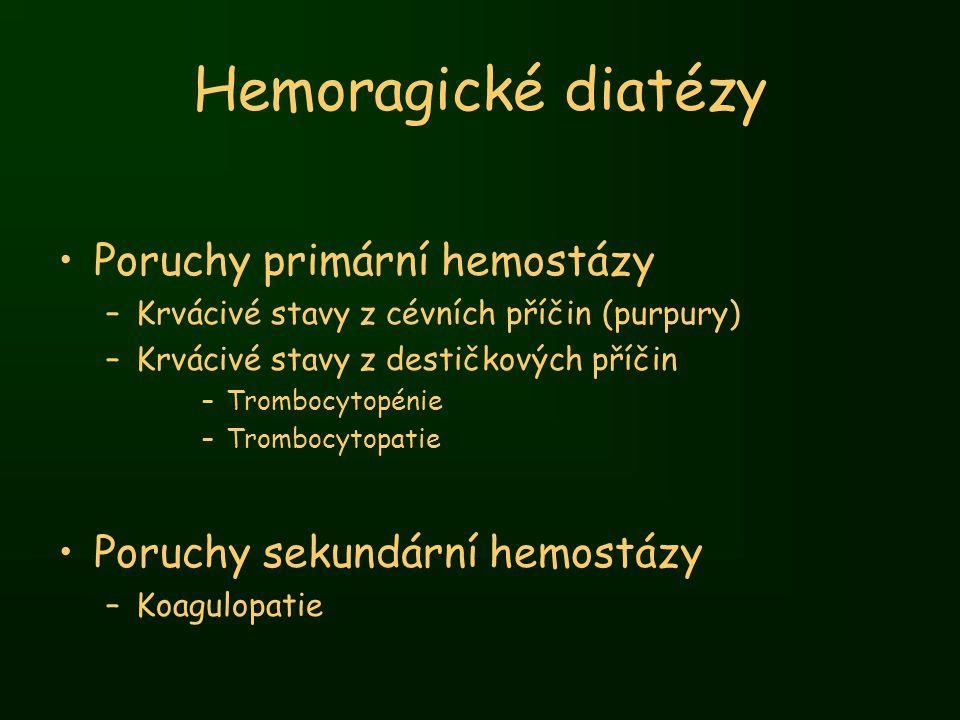 Hemoragické diatézy Poruchy primární hemostázy –Krvácivé stavy z cévních příčin (purpury) –Krvácivé stavy z destičkových příčin –Trombocytopénie –Trom
