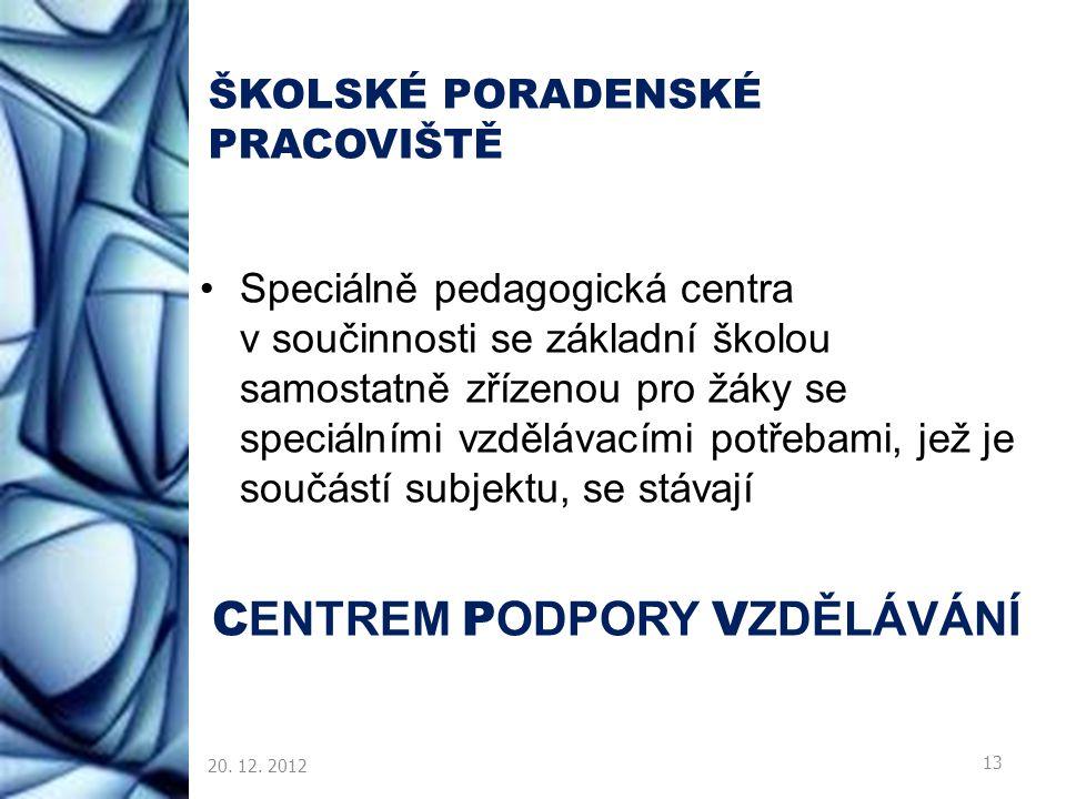 ŠKOLSKÉ PORADENSKÉ PRACOVIŠTĚ Speciálně pedagogická centra v součinnosti se základní školou samostatně zřízenou pro žáky se speciálními vzdělávacími p