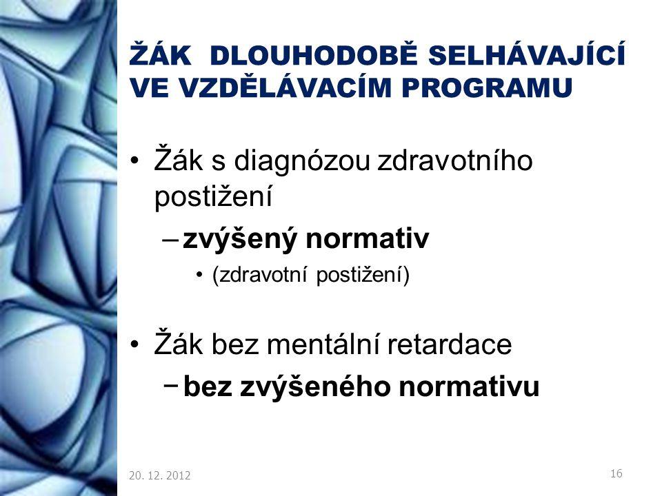 ŽÁK DLOUHODOBĚ SELHÁVAJÍCÍ VE VZDĚLÁVACÍM PROGRAMU Žák s diagnózou zdravotního postižení –zvýšený normativ (zdravotní postižení) Žák bez mentální reta