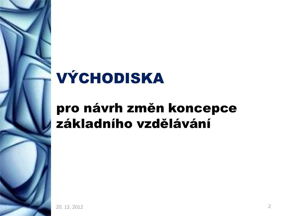 VÝCHODISKA pro návrh změn koncepce základního vzdělávání 20. 12. 2012 2