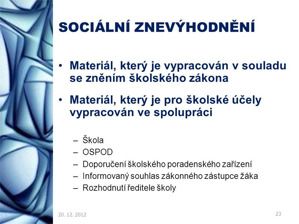 SOCIÁLNÍ ZNEVÝHODNĚNÍ Materiál, který je vypracován v souladu se zněním školského zákona Materiál, který je pro školské účely vypracován ve spolupráci