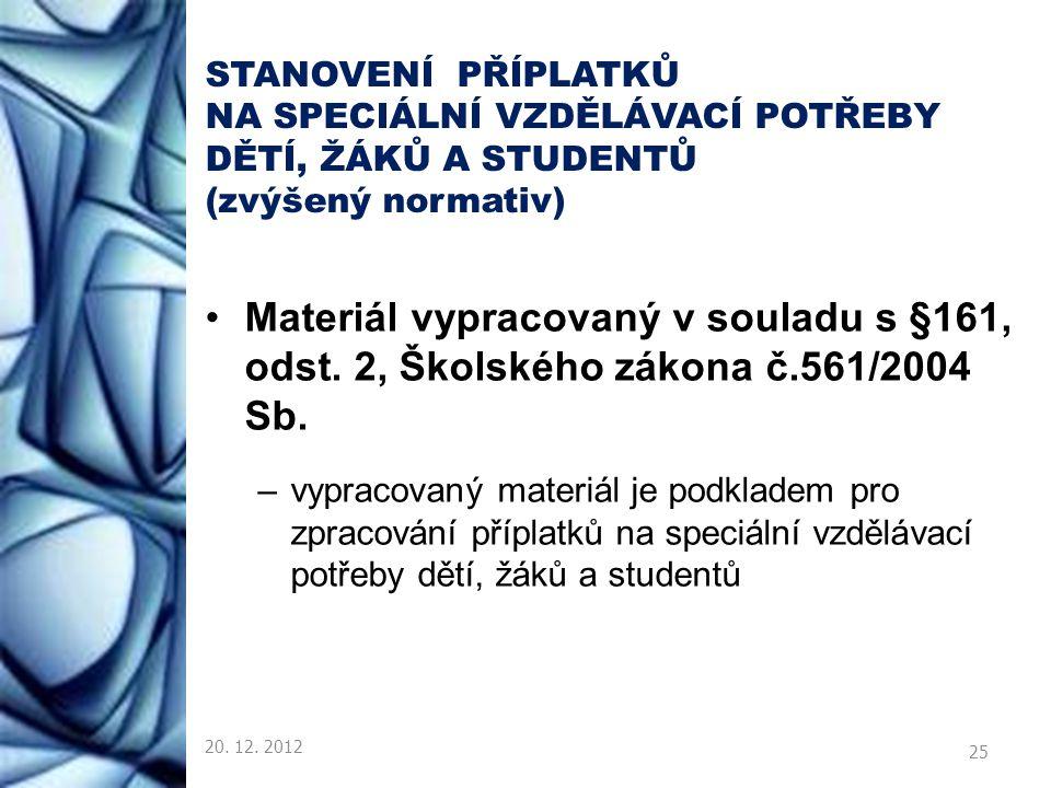 STANOVENÍ PŘÍPLATKŮ NA SPECIÁLNÍ VZDĚLÁVACÍ POTŘEBY DĚTÍ, ŽÁKŮ A STUDENTŮ (zvýšený normativ) Materiál vypracovaný v souladu s §161, odst. 2, Školského