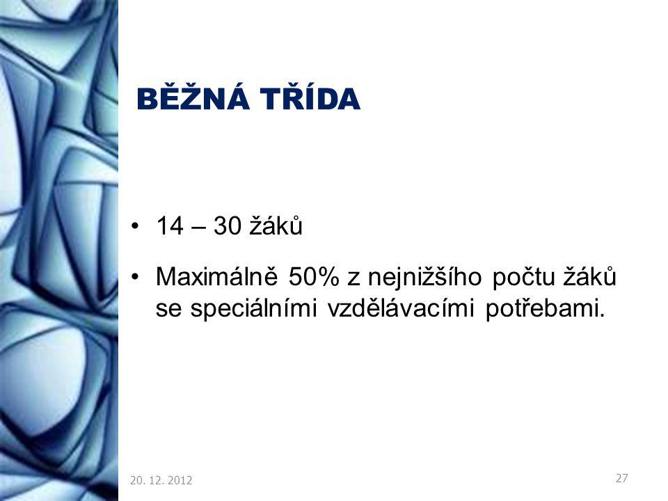 BĚŽNÁ TŘÍDA 14 – 30 žáků Maximálně 50% z nejnižšího počtu žáků se speciálními vzdělávacími potřebami. 20. 12. 2012 27