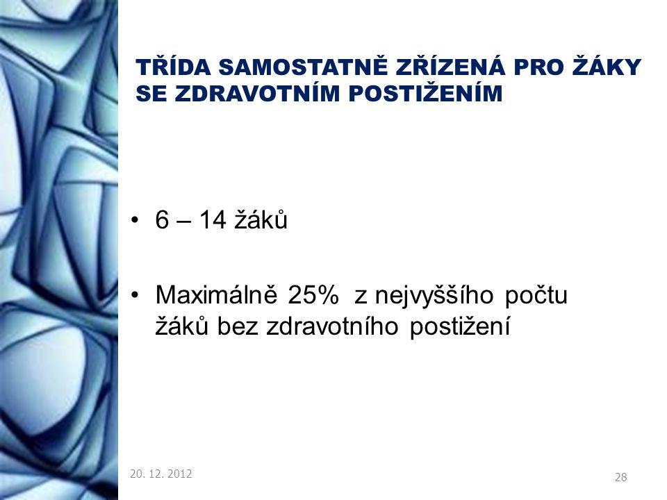 TŘÍDA SAMOSTATNĚ ZŘÍZENÁ PRO ŽÁKY SE ZDRAVOTNÍM POSTIŽENÍM 6 – 14 žáků Maximálně 25% z nejvyššího počtu žáků bez zdravotního postižení 20. 12. 2012 28