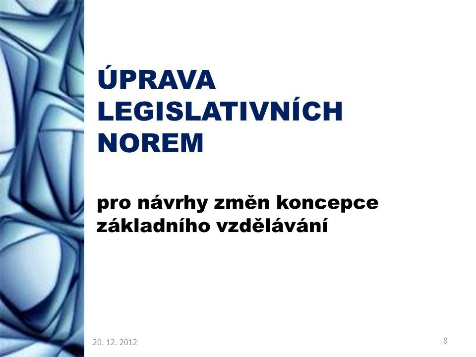 ÚPRAVA LEGISLATIVNÍCH NOREM pro návrhy změn koncepce základního vzdělávání 20. 12. 2012 8