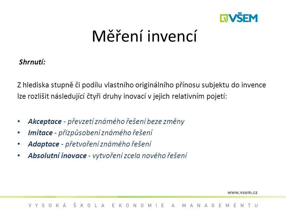 Měření invencí Shrnutí: Z hlediska stupně či podílu vlastního originálního přínosu subjektu do invence lze rozlišit následující čtyři druhy inovací v