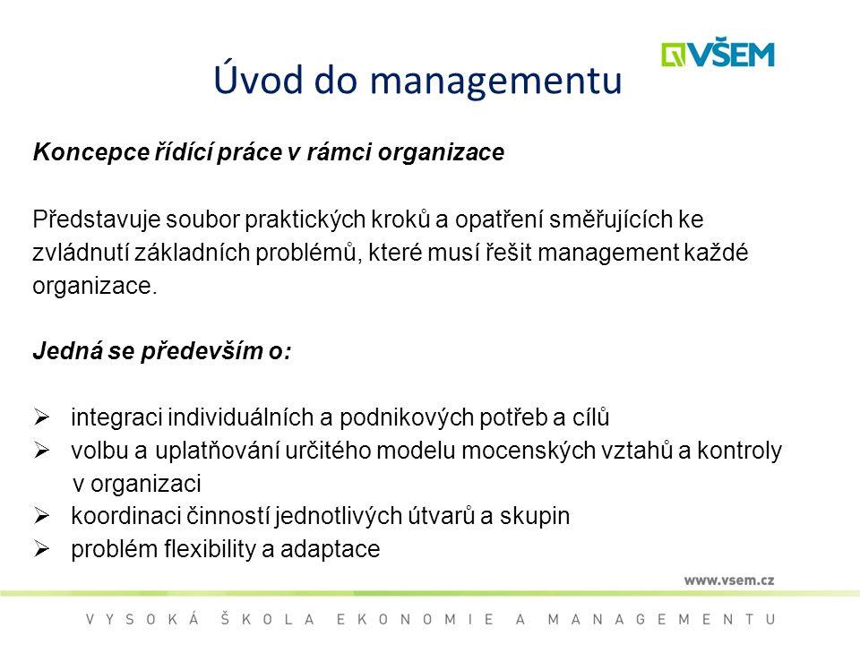 Úvod do managementu Koncepce řídící práce v rámci organizace Představuje soubor praktických kroků a opatření směřujících ke zvládnutí základních probl