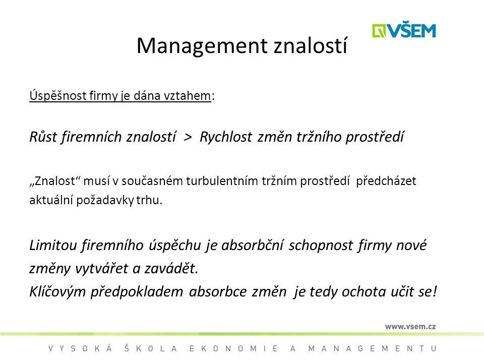 """Management znalostí Úspěšnost firmy je dána vztahem: Růst firemních znalostí > Rychlost změn tržního prostředí """"Znalost"""" musí v současném turbulentním"""