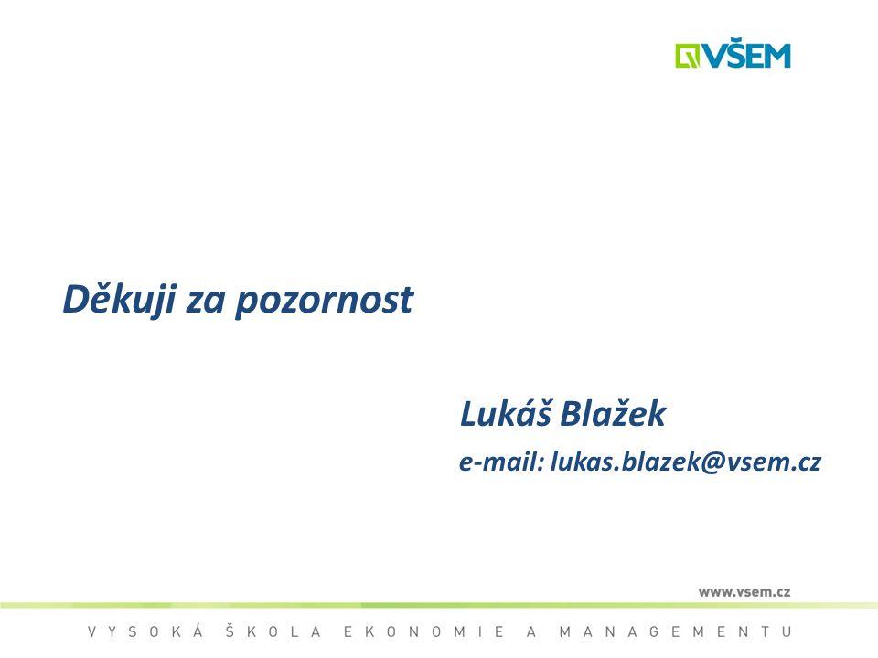 Děkuji za pozornost Lukáš Blažek e-mail: lukas.blazek@vsem.cz