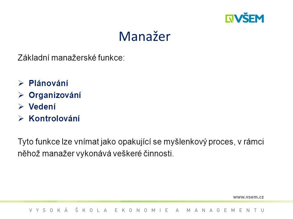 Manažer Základní manažerské funkce:  Plánování  Organizování  Vedení  Kontrolování Tyto funkce lze vnímat jako opakující se myšlenkový proces, v r