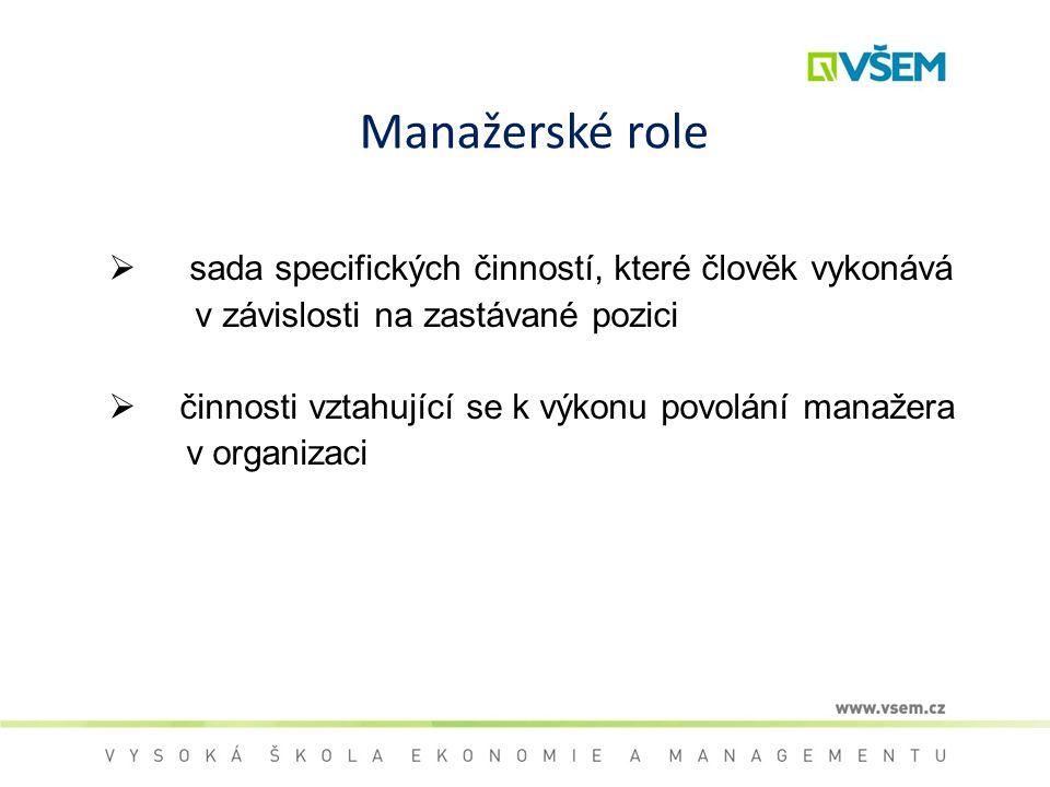 Manažerské role  sada specifických činností, které člověk vykonává v závislosti na zastávané pozici  činnosti vztahující se k výkonu povolání manaže