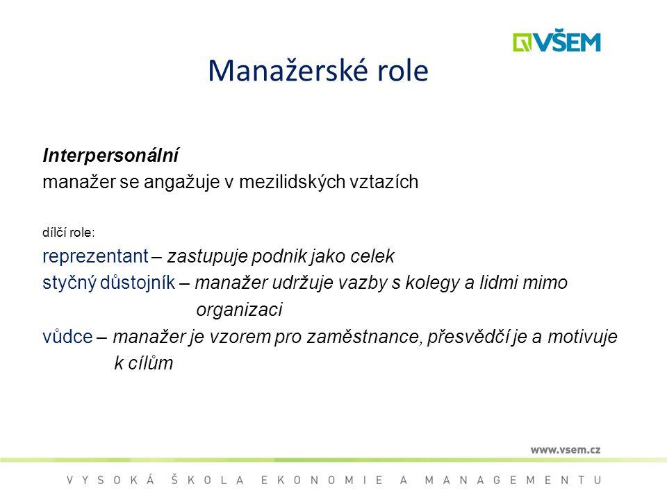 Manažerské role Interpersonální manažer se angažuje v mezilidských vztazích dílčí role: reprezentant – zastupuje podnik jako celek styčný důstojník –