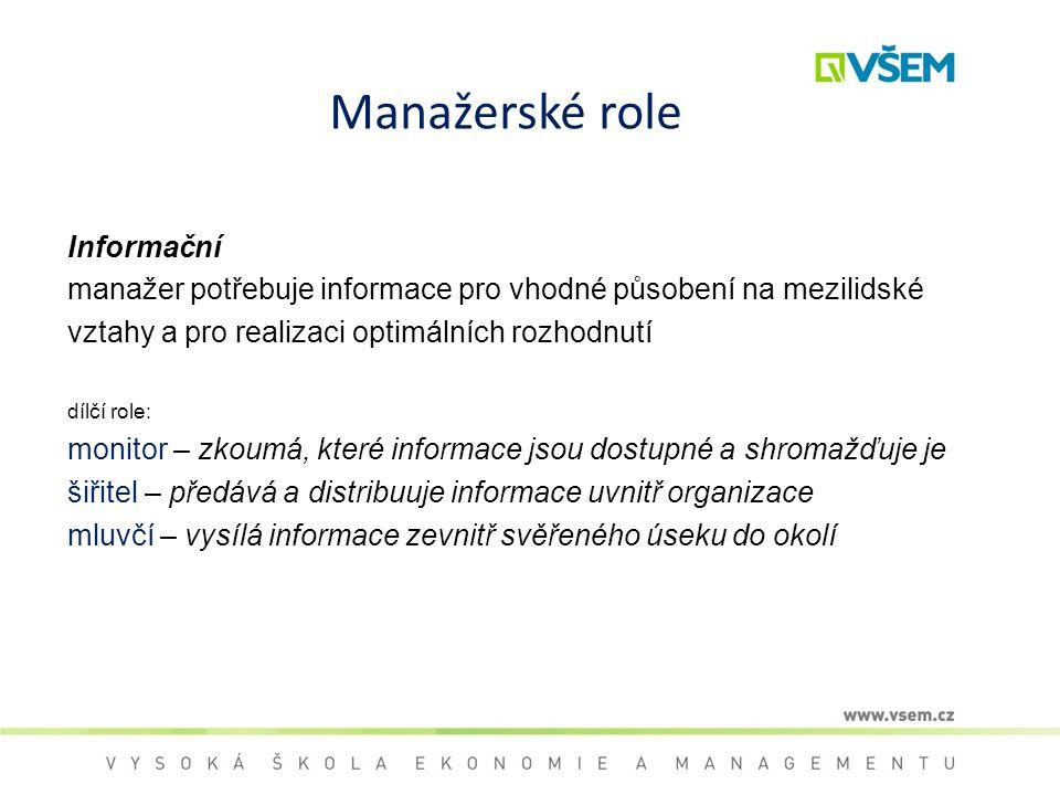 Manažerské role Informační manažer potřebuje informace pro vhodné působení na mezilidské vztahy a pro realizaci optimálních rozhodnutí dílčí role: mon