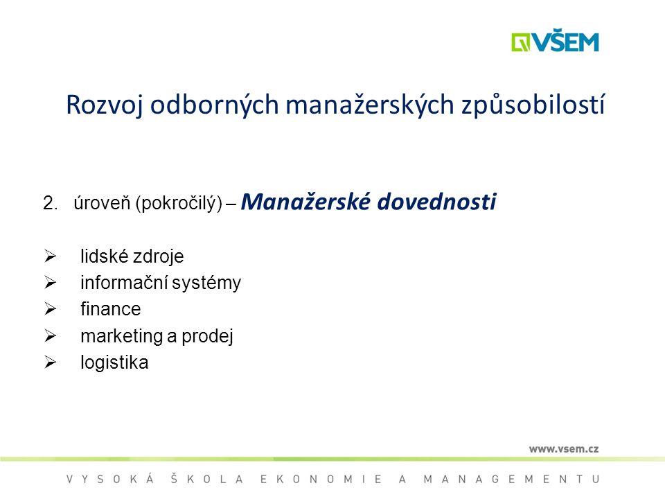 Rozvoj odborných manažerských způsobilostí 2. úroveň (pokročilý) – Manažerské dovednosti  lidské zdroje  informační systémy  finance  marketing a