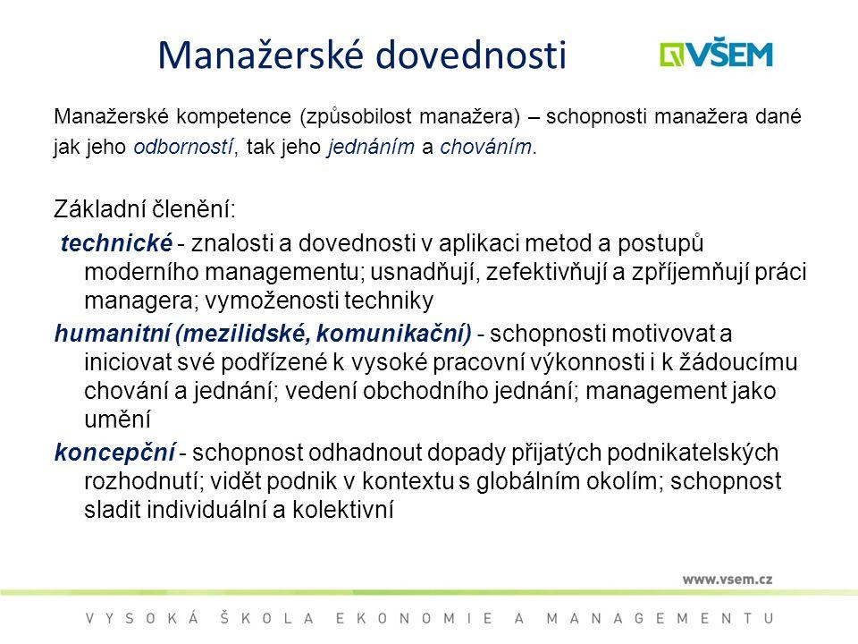 Manažerské dovednosti Manažerské kompetence (způsobilost manažera) – schopnosti manažera dané jak jeho odborností, tak jeho jednáním a chováním. Zákla