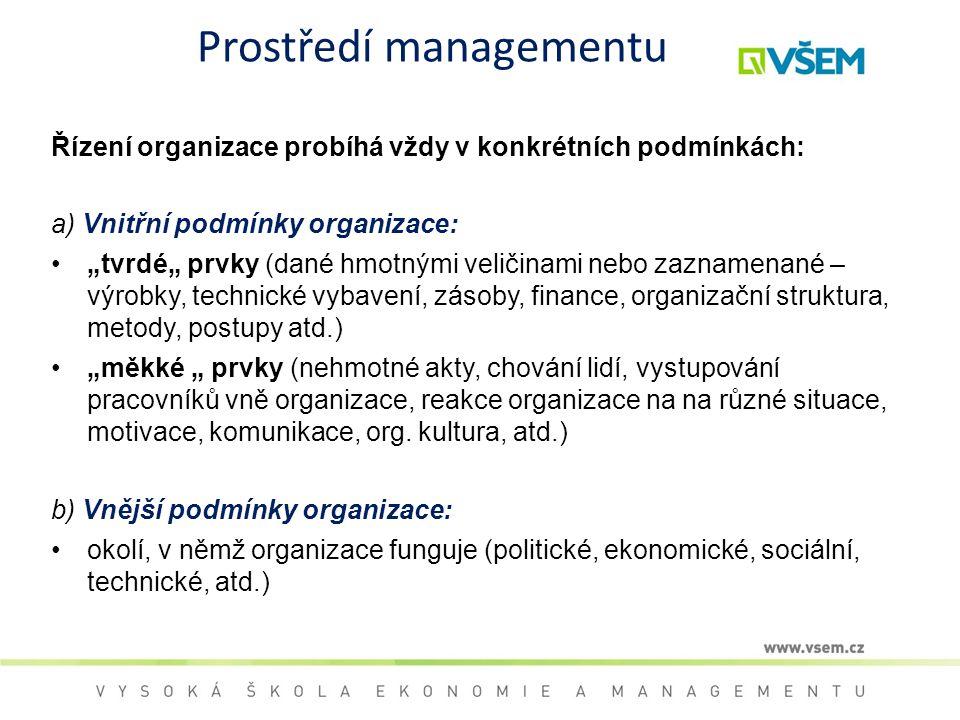 """Prostředí managementu Řízení organizace probíhá vždy v konkrétních podmínkách: a) Vnitřní podmínky organizace: """"tvrdé"""" prvky (dané hmotnými veličinami"""