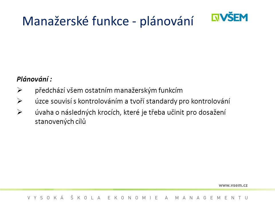 Manažerské funkce - plánování Plánování :  předchází všem ostatním manažerským funkcím  úzce souvisí s kontrolováním a tvoří standardy pro kontrolov
