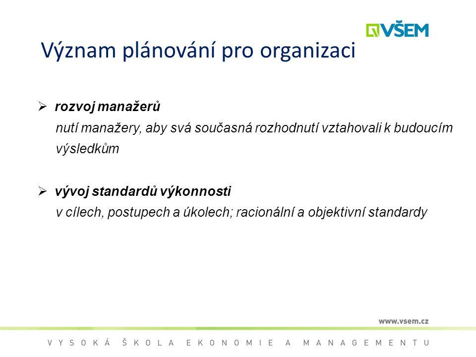Význam plánování pro organizaci  rozvoj manažerů nutí manažery, aby svá současná rozhodnutí vztahovali k budoucím výsledkům  vývoj standardů výkonno