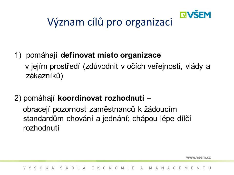 Význam cílů pro organizaci 1)pomáhají definovat místo organizace v jejím prostředí (zdůvodnit v očích veřejnosti, vlády a zákazníků) 2) pomáhají koord