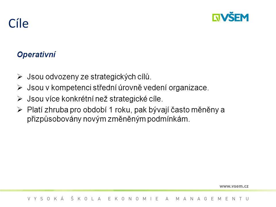 Cíle Operativní  Jsou odvozeny ze strategických cílů.  Jsou v kompetenci střední úrovně vedení organizace.  Jsou více konkrétní než strategické cíl