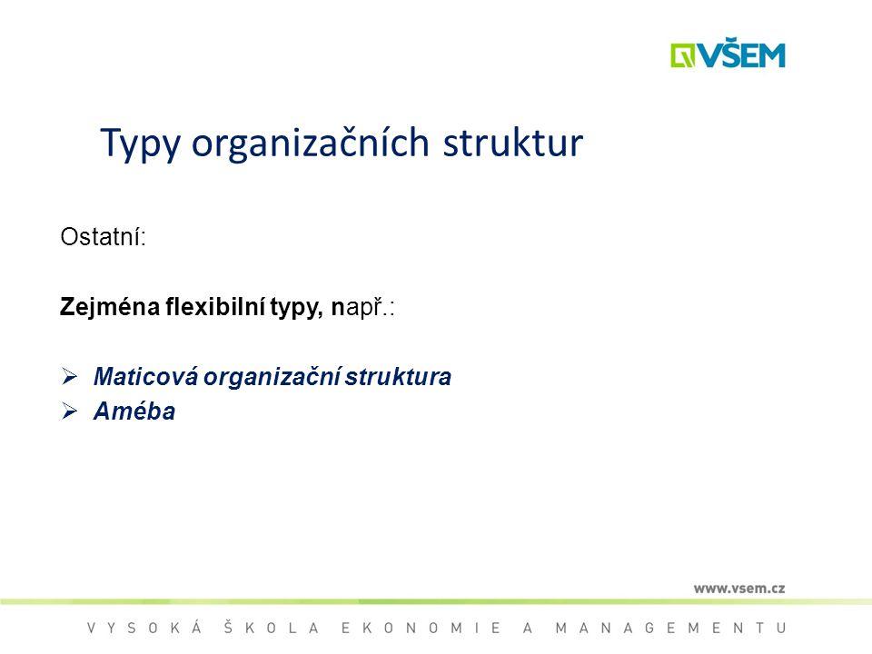 Typy organizačních struktur Ostatní: Zejména flexibilní typy, např.:  Maticová organizační struktura  Améba
