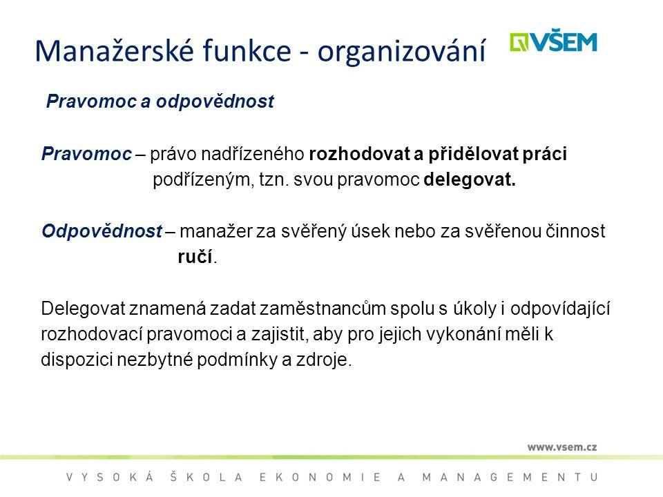 Manažerské funkce - organizování Pravomoc a odpovědnost Pravomoc – právo nadřízeného rozhodovat a přidělovat práci podřízeným, tzn. svou pravomoc dele