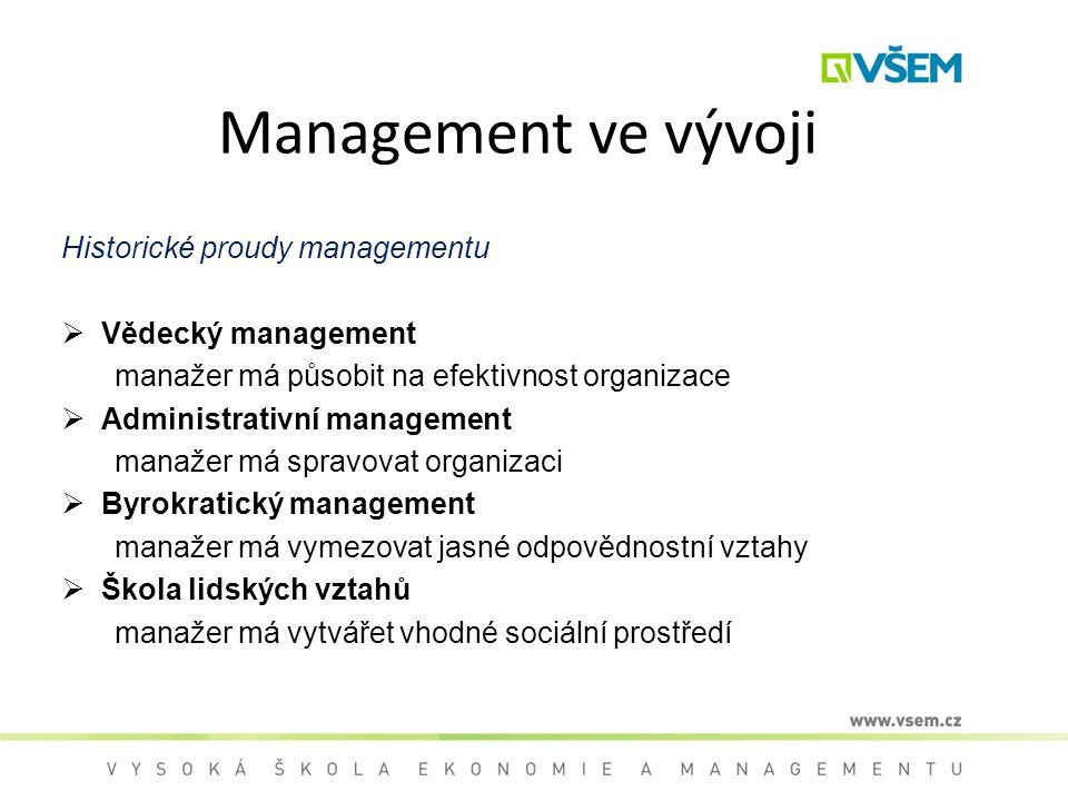 Management ve vývoji Historické proudy managementu  Vědecký management manažer má působit na efektivnost organizace  Administrativní management mana