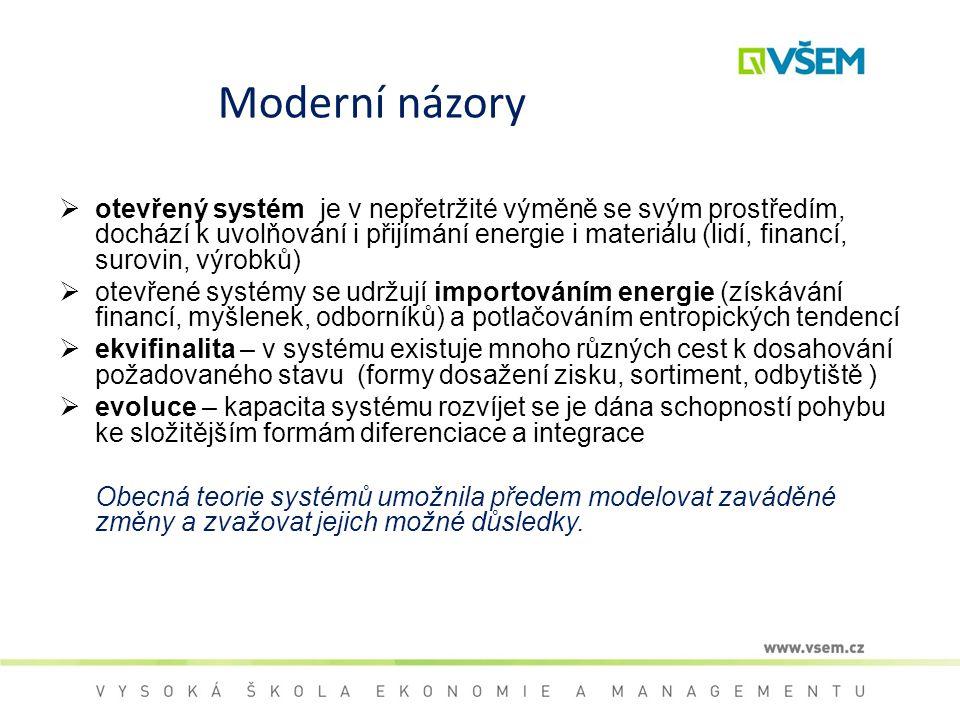 Moderní názory  otevřený systém je v nepřetržité výměně se svým prostředím, dochází k uvolňování i přijímání energie i materiálu (lidí, financí, suro