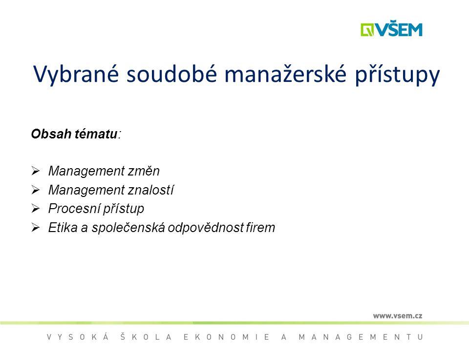 Vybrané soudobé manažerské přístupy Obsah tématu:  Management změn  Management znalostí  Procesní přístup  Etika a společenská odpovědnost firem