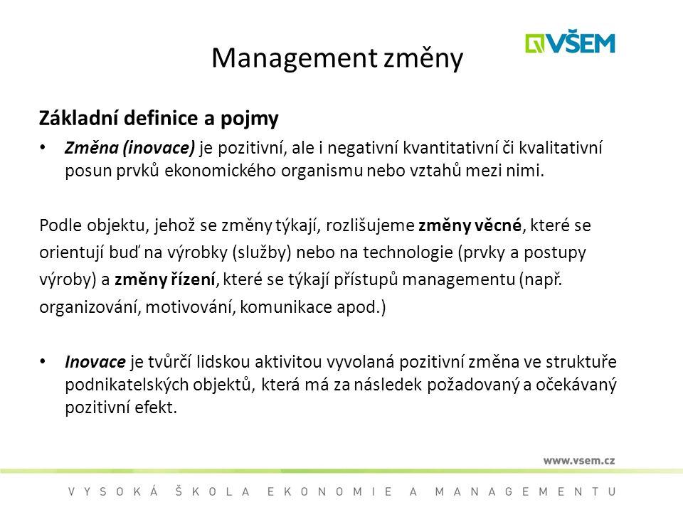 Management změny Základní definice a pojmy Změna (inovace) je pozitivní, ale i negativní kvantitativní či kvalitativní posun prvků ekonomického organi