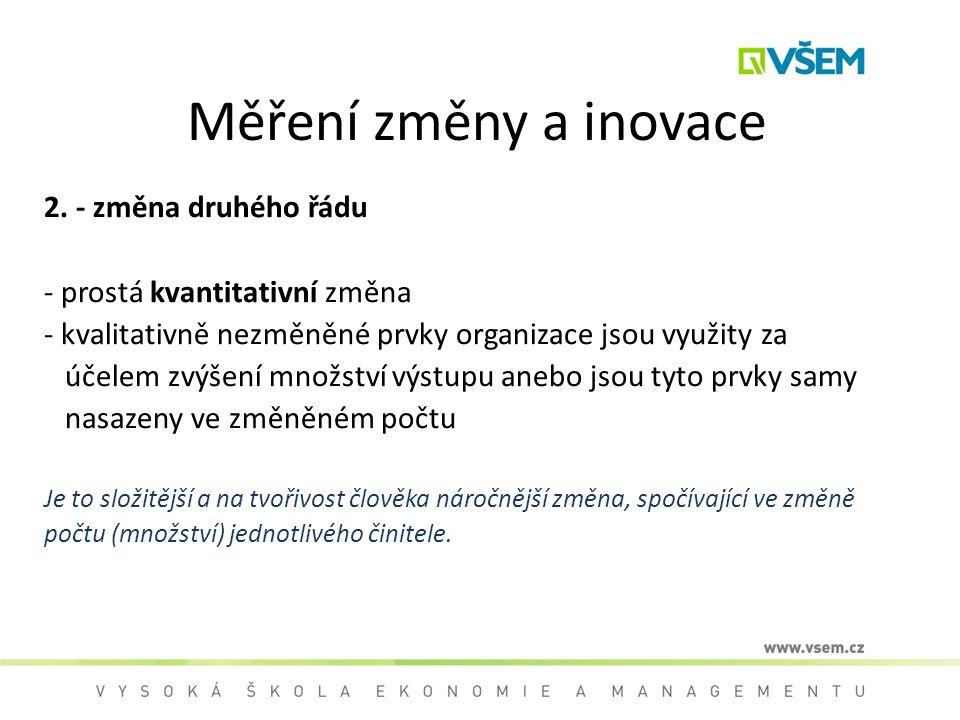 Měření změny a inovace 2. - změna druhého řádu - prostá kvantitativní změna - kvalitativně nezměněné prvky organizace jsou využity za účelem zvýšení m