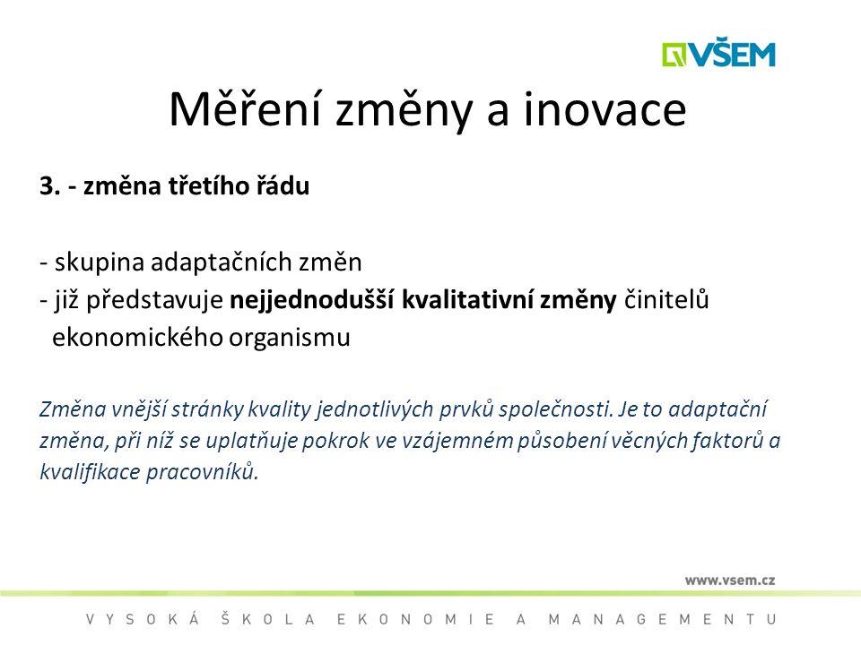 Měření změny a inovace 3. - změna třetího řádu - skupina adaptačních změn - již představuje nejjednodušší kvalitativní změny činitelů ekonomického org