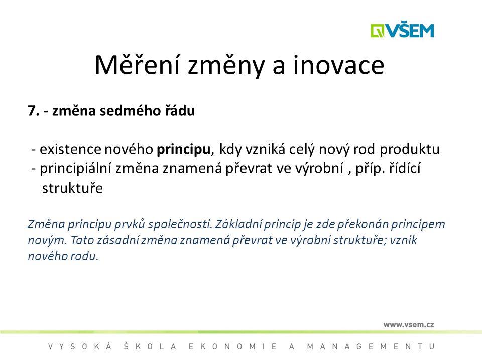 Měření změny a inovace 7. - změna sedmého řádu - existence nového principu, kdy vzniká celý nový rod produktu - principiální změna znamená převrat ve