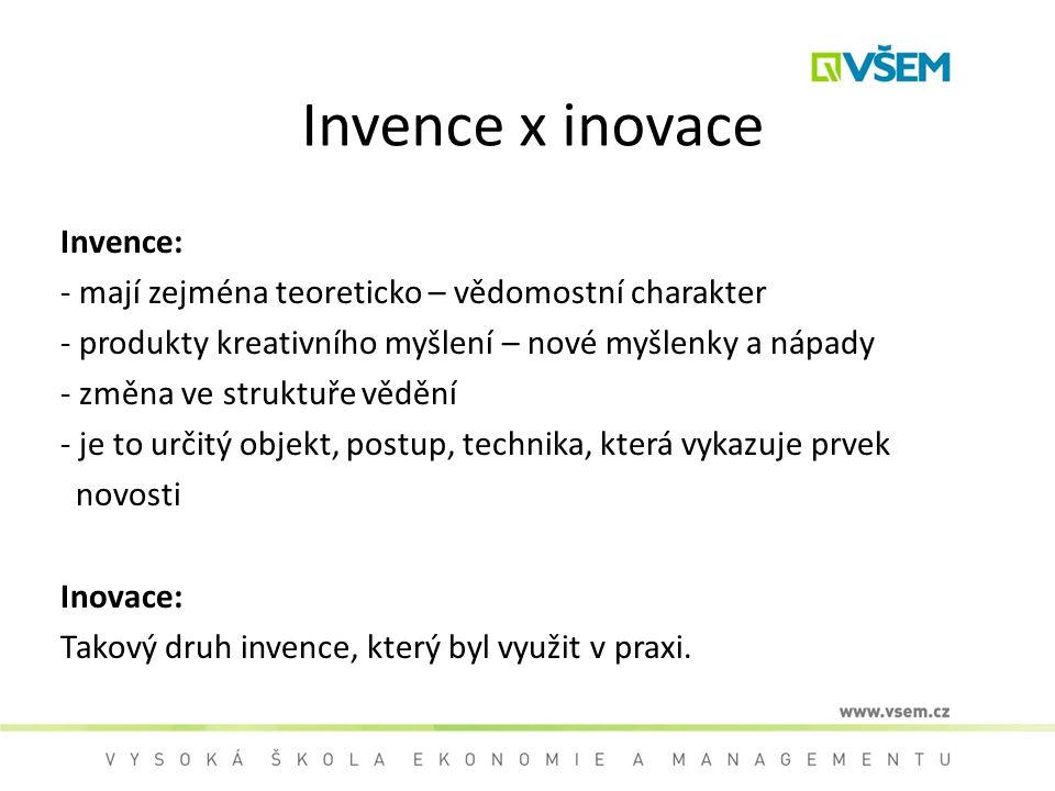 Invence x inovace Invence: - mají zejména teoreticko – vědomostní charakter - produkty kreativního myšlení – nové myšlenky a nápady - změna ve struktu